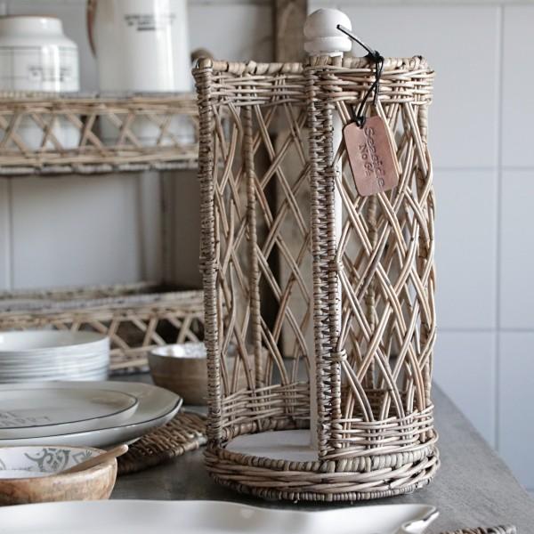 Rustic Rattan Küchenrollenhalter