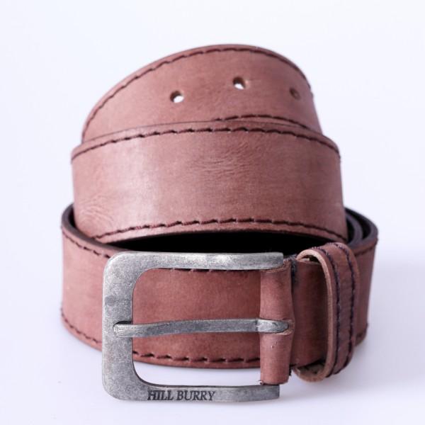 Leder Gürtel rotbraun mit Ziernaht