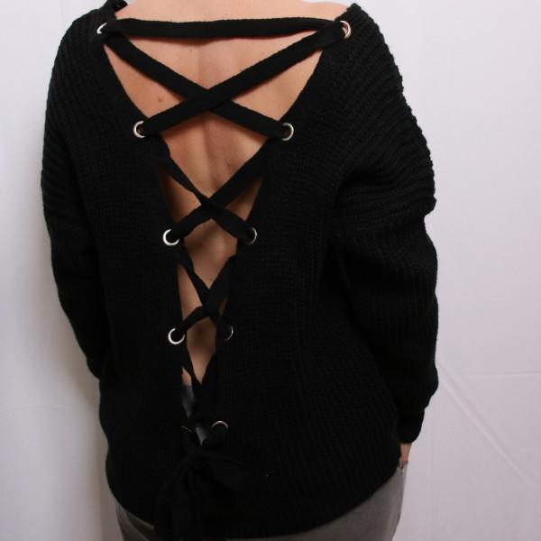 Strickpullover mit Schnürung am Rücken in schwarz
