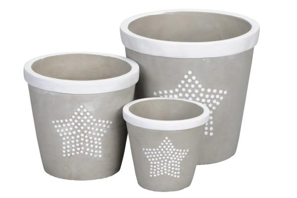 Pflanztopf / Blumentopf grau Beton mit Stern, 3 Größen