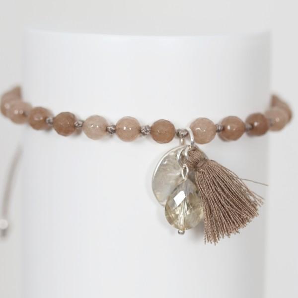 Biba Perlenarmband mit Quaste,Plättchen und Stein in braun taupe
