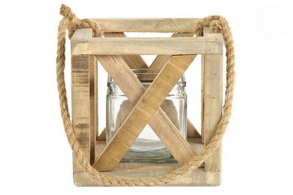Windlicht aus Holz quadratisch groß