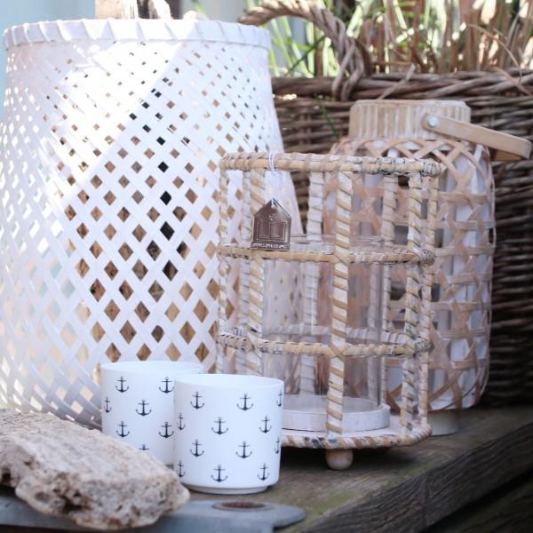 Windlicht aus Porzellan mit Anker allover