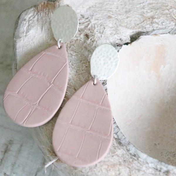 Ohrstecker aus Leder in rosa / silber