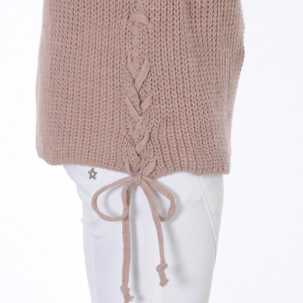 Strickpullover mit Schnürung an der Seite rosa