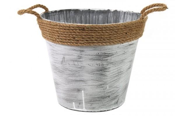 Eimer aus Zink in grau weiß Höhe 21cm