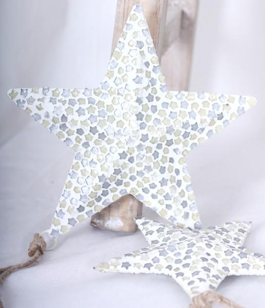 Hänger Stern aus Metall & Glas/Mosaik klein oder groß