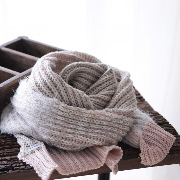 SET Wollschal Strick und Mütze beige/rose/nude
