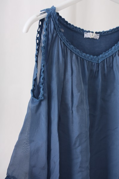 Tunika Armschlitz jeansblau offshoulder