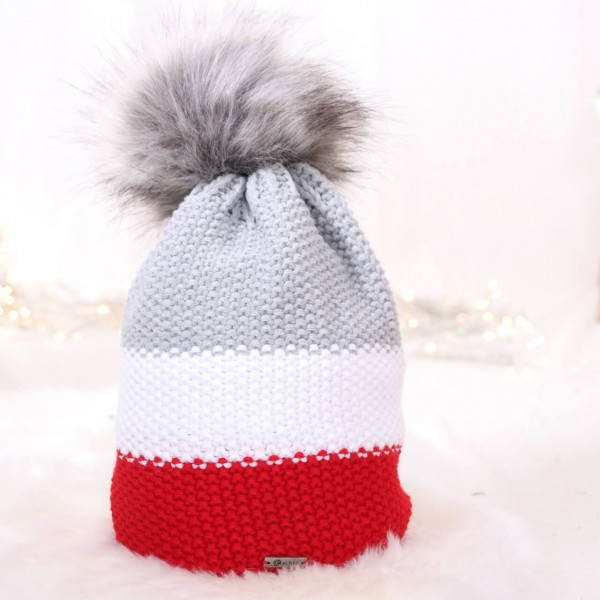Strickmütze Colourblock rot weiß grau mit Bommel
