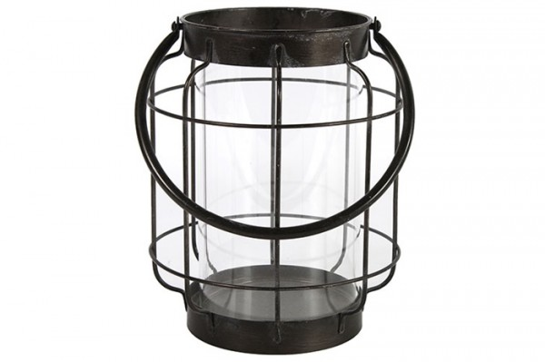 Windlicht aus Metall in schwarz bauchig groß