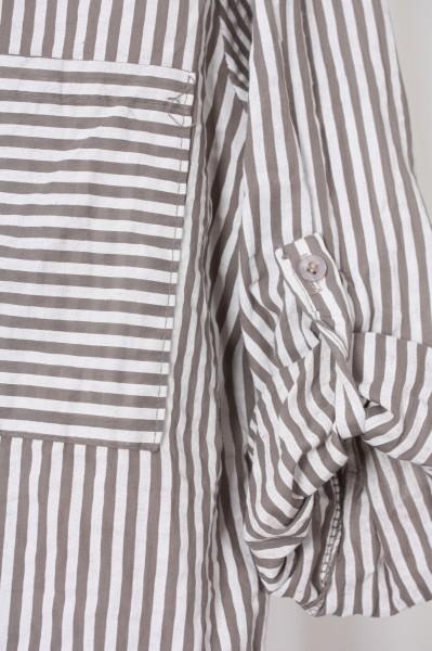 Fließende Bluse mit modernen Streifen taupe