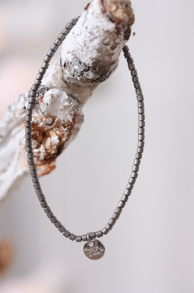 Biba Perlenarmband grau metallic