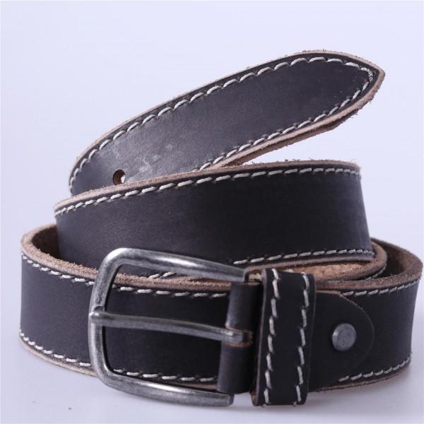 Leder Gürtel schwarzbraun mit Ziernaht