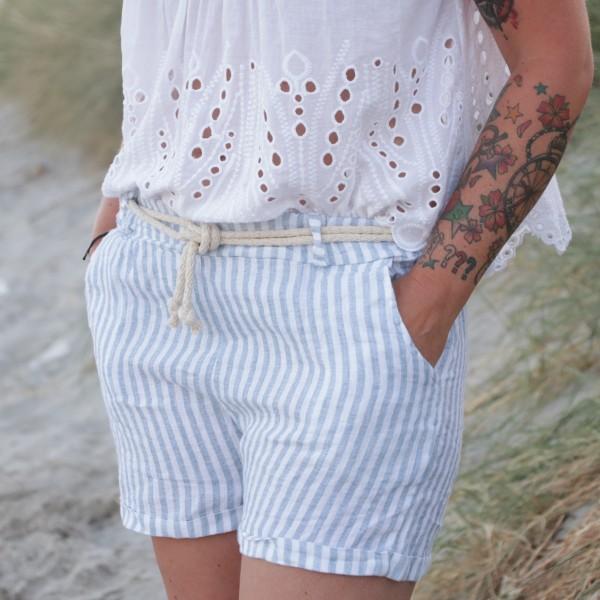 Shorts Leinen hellblau weiß gestreift