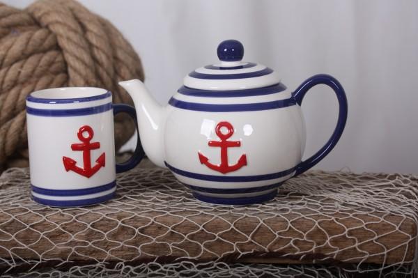 Becher / Tasse weiß, blaue Streifen und roter Anker