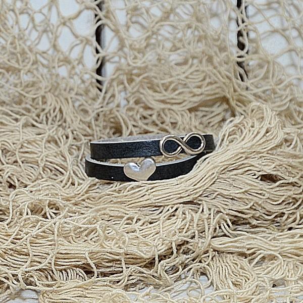 Armband doppelt gewickelt schwarz für Schiebeperlen