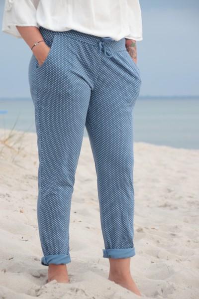 Sommerhose mit Print jeansblau