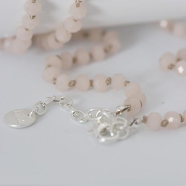 Biba Perlenkette rosa mit Plättchen Quast und Perle