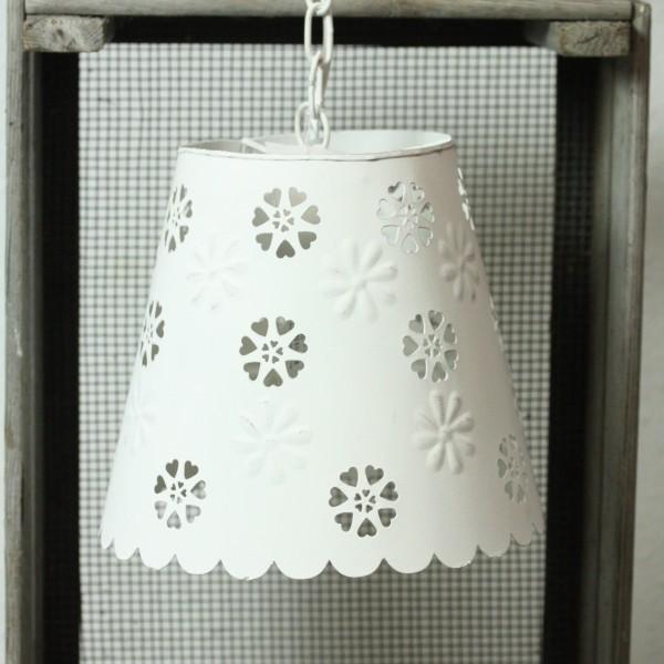 Große Hängelampe weiß mit Blüten