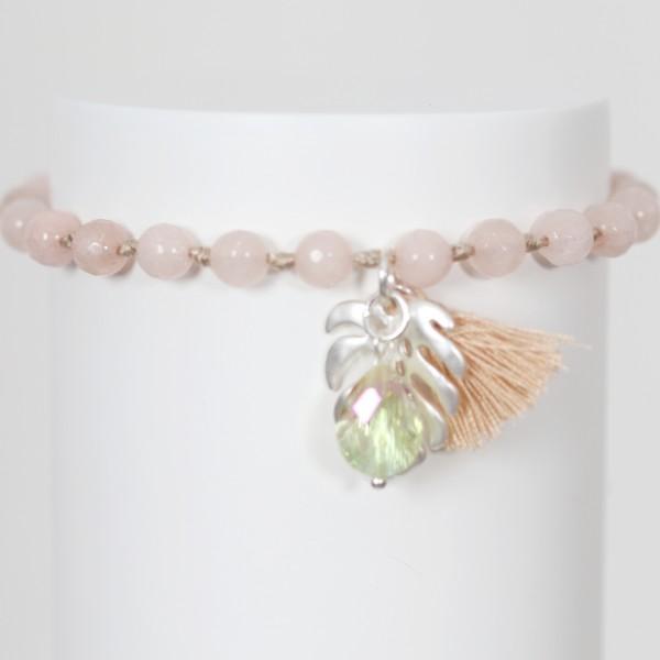 Biba Perlenarmband mit Quaste,Blatt und Stein in rosé