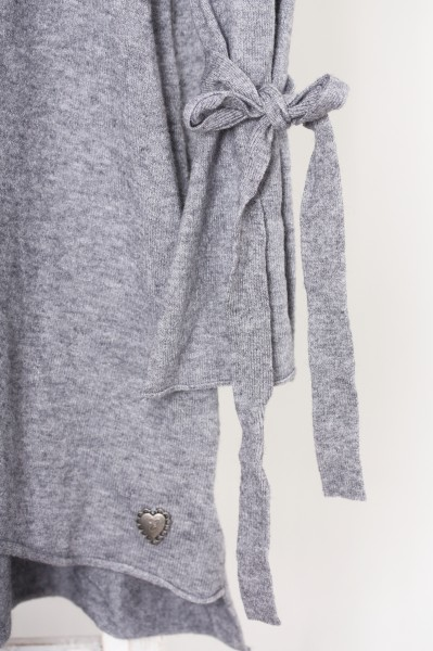 Pullover mit Schleifendetails grau S/M oder L/XL