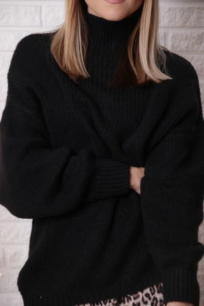 Strickpullover schwarz mit Stehkragen