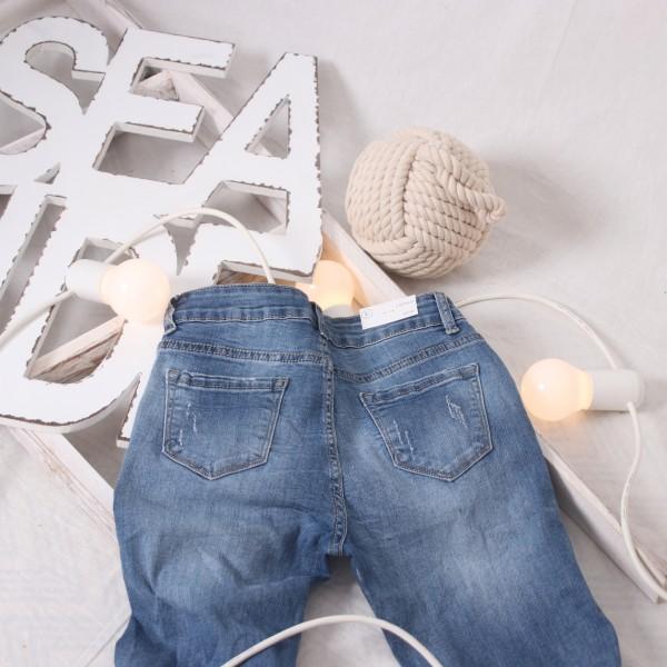 Skinny Jeans Denim mit Perlen XS - XL