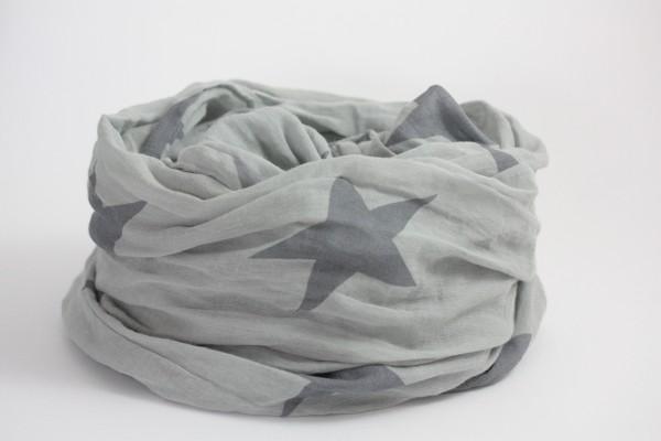 Krasilnikoff Tuch hellgrau mit grauen Sternen