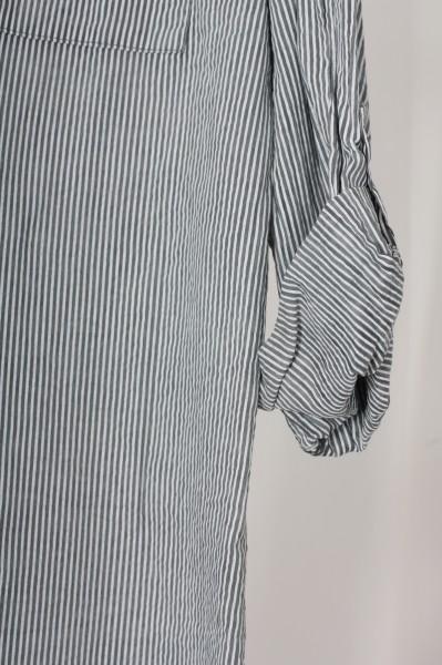 Hemdbluse mit zarten Streifen grau