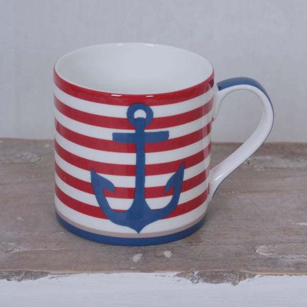 Tasse rot weiß gestreift mit Anker und Paddel