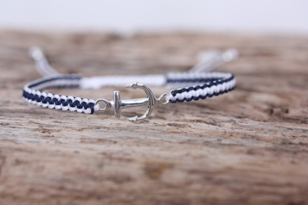 Armband Makramee blau weiß mit silbernen Anker 925er