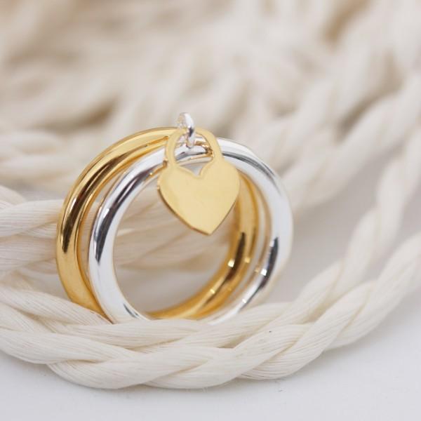 Ring silber 925er mit Herzchen gold Gr. 50-60