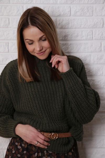 Grobstrick Pullover mit Stehkragen in khaki