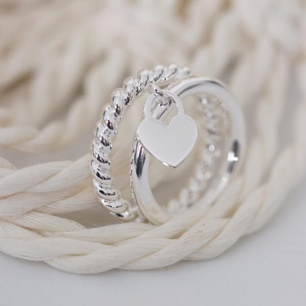 Ring silber 925er gedreht Gr. 50-60