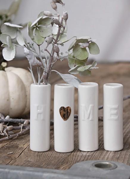 4 teiliges Vasenset Home Porzellan in weiß und Gold