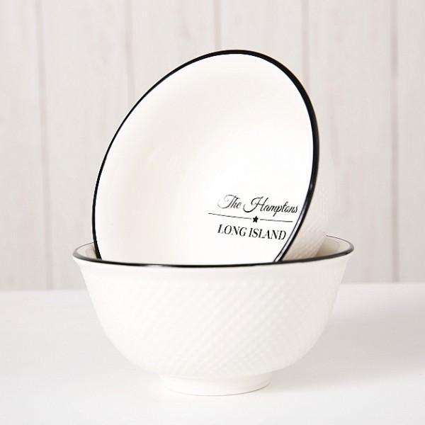Müslischale Hampton schwarz weiß, Porzellan, 350ml, 2 Varianten