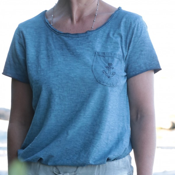 T-Shirt Anker jeansblau/dunkelblau