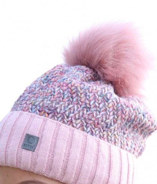 Strickmütze Plüschmoors mit Fellbommel in multicolour / rosa