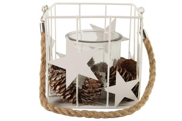Windlicht / Würfel weiß mit Sternen und Zapfen