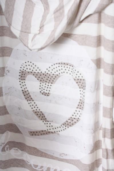 Dünne Jacke Streifen beige weiß mit Herz