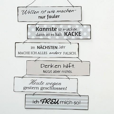 Metallschild vintage sechs witzige Sprüche 26 x 6 cm