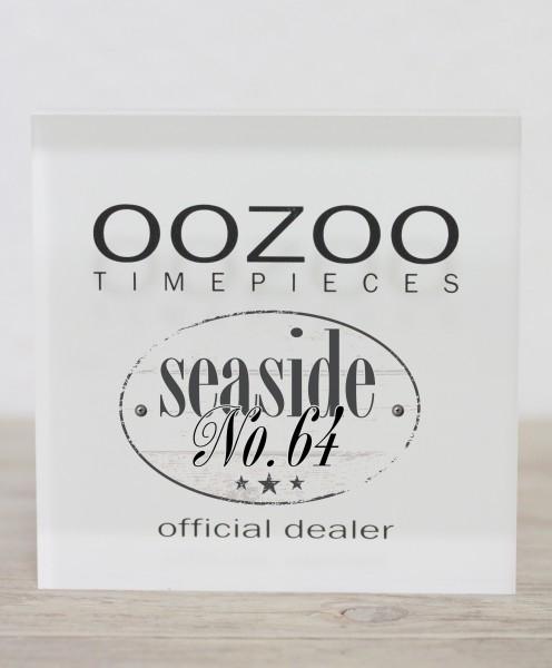 OOZOO Vintage Ultra Slim Leder 40 MM Taupe/Weiss/Taupe C7740