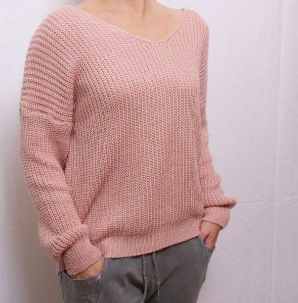Strickpullover mit Schnürung am Rücken in rosa