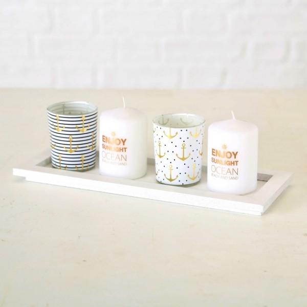 Teelicht und Kerzenset Anker, 5tlg