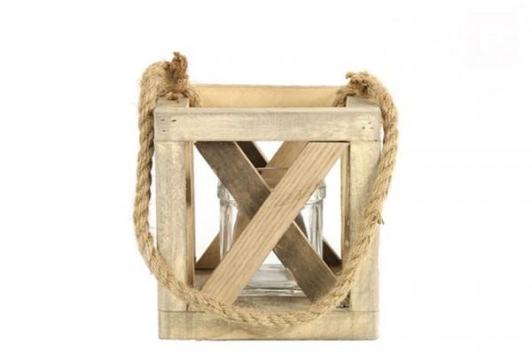 Windlicht aus Holz quadratisch klein