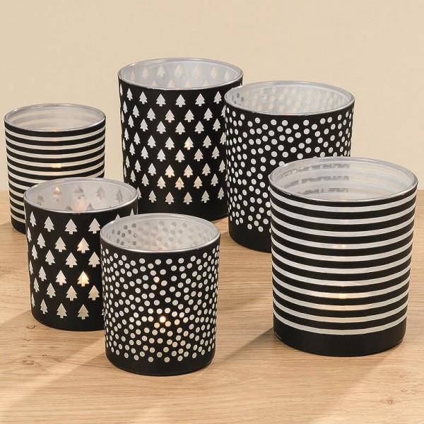 Windlicht Set Bullerbü schwarz weiß 3 Designs