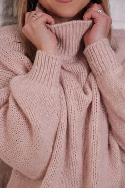 Strickpullover rosa mit Stehkragen