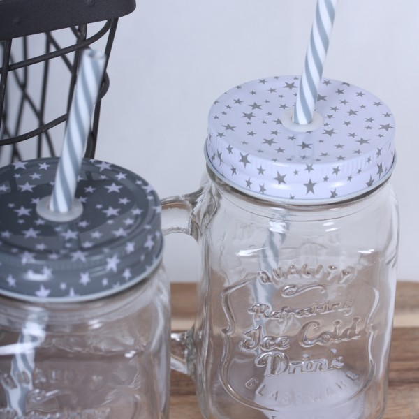 Smoothie Glas mit Strohhalm und Sterndeckel 2 Farben