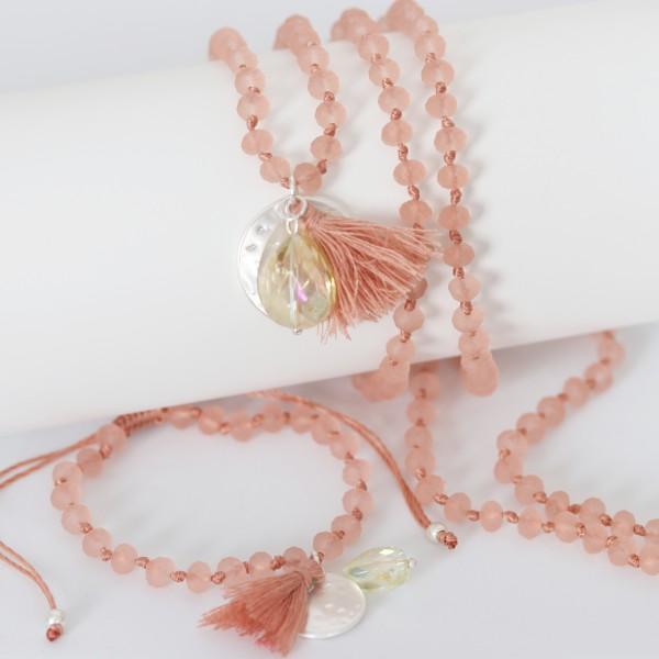 Biba Perlenkette koralle rosé mit Plättchen Quast und Perle